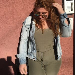 Olive green jumpsuit one piece